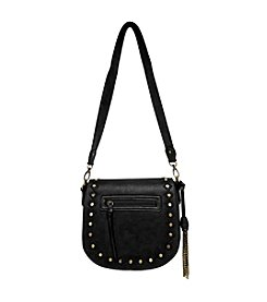 GAL Disc Studs Embroidered Full Flap Shoulder Bag W/Chain Tassle