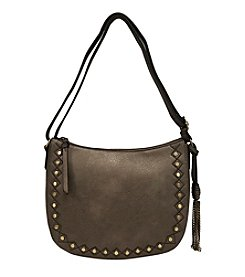GAL Disc Studs Embroidered Hobo Crossbody W/Tassle