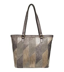 GAL Metallic Stripe Panels Triple Entry Top Zipper Tote
