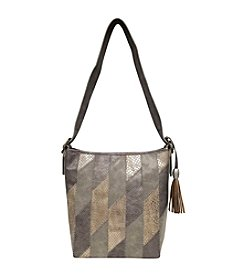 GAL Metallic Stripe North/South Deep Bucket Hobo Bag