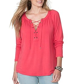 Chaps® Plus Size Lace-Up Jersey Tee