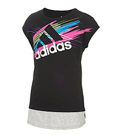 adidas® Girls' 2T-6X Logo Cap Sleeve Top