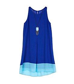 Amy Byer Girls' 7-16 Blue Pendant Dress