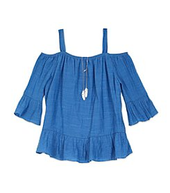 Amy Byer Girls' 7-16 Chambray Cold Shoulder Top With Necklace