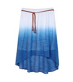 Amy Byer Girls' 7-16 Dip Dye Gauze Skirt With Belt