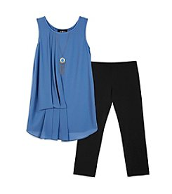 Amy Byer Girls' 7-16 2-Piece Chambray High-Low Tunic Top And Leggings Set