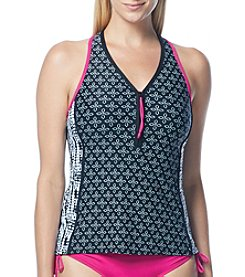 Beach House® Racerback Zip Front Tankini Top