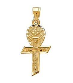 14K Yellow Gold Polished Bautizo Pendant