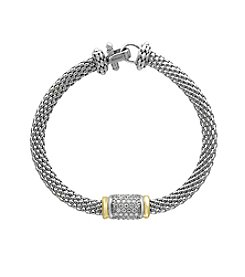 Effy® 925 Sterling Silver and 18K Yellow Gold Diamond Tennis Bracelet