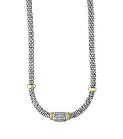 Effy® 925 Sterling Silver and 18K Yellow Gold Diamond Necklace