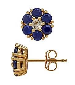 10K Yellow Gold Blue And White Sapphire Flower Earrings