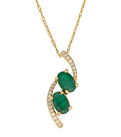 10K Yellow Gold Two Stone Emerald Pendant With 0.06 ct. t.w. Diamond Accents