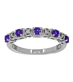 Tanzanite Ring in 10K White Gold with Diamond Accents