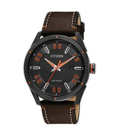Citizen® Men's Eco-Drive Leather Strap Watch