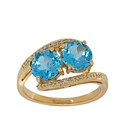 10K Yellow Gold Swiss Blue Topaz Ring with 0.09 ct. t.w. Diamond Accent