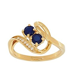 10K Yellow Gold Two Stone Blue Sapphire Ring With 0.03 ct. t.w. Diamond Accent