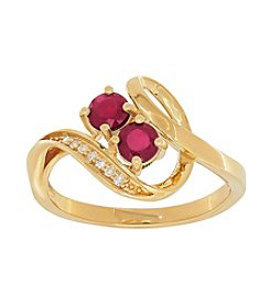 Two Stone Glass-filled Ruby Ring in 10K Yellow Gold with 0.03 ct. t.w. Diamond Accent
