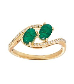 10K Yellow Gold Two Stone Emerald Ring with 0.11 ct. t.w. Diamond Accent