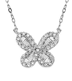 10K White Gold 0.20 ct. t.w. Diamond Butterfly Necklace