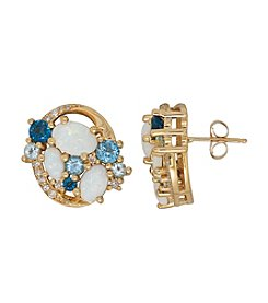 10K Yellow Gold Opal and Blue Topaz Earrings with 0.17 ct. t.w. Diamond Accent