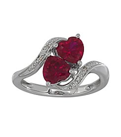 Sterling Silver Two Heart Created Ruby Ring with 0.01 ct. t.w. Diamond Accent