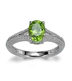 Sterling Silver Peridot Ring with 0.12 ct. t.w. Diamond Accent