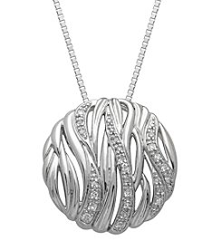Sterling Silver Round Pendant Necklace with 0.10 ct. t.w. Diamond Accent