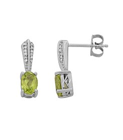 Sterling Silver Peridot Earrings with 0.12 ct. t.w. Diamond Accent