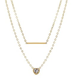14K Yellow Gold Polished Double Strand Necklace