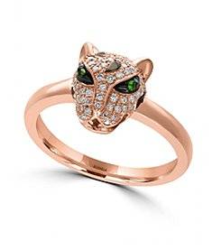 Effy® 14K Rose Gold Diamond and Tsavorite Ring