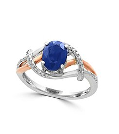Effy® 14K White and Rose Gold Diamond and Sapphire Ring