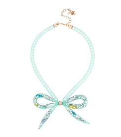 Betsey Johnson® Pearl Mesh Bow Frontal Necklace