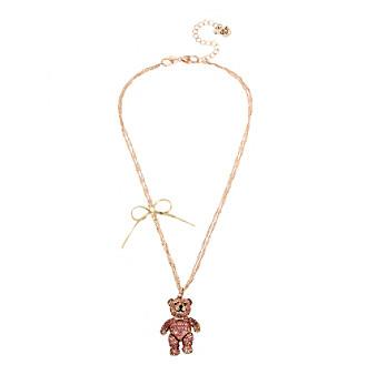 Betsey Johnson® Pave Bear Pendant Necklace