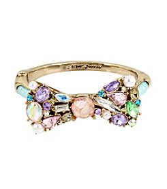 Betsey Johnson® Bow and Mesh Tube Hinged Bangle Bracelet