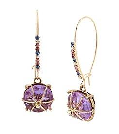 Betsey Johnson® Wire Wrapped Purple Stone Drop Earrings