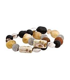 Erica Lyons® Neutral Territory Two Piece Beaded Stretch Bracelet Set