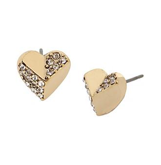 Betsey Johnson® Goldtone Heart Stud Earrings