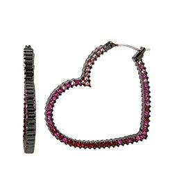 Betsey Johnson® Pave Heart Hoop Earrings