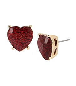 Betsey Johnson® Heart Stone Stud Earrings