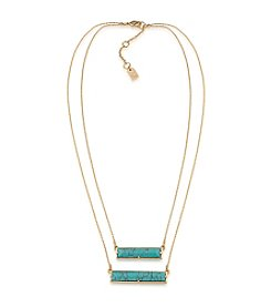 Lauren Ralph Lauren® Turquoise Rectangle Pendant Two Row Necklace