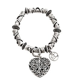 Erica Lyons® Filigree Heart Stretch Bracelet