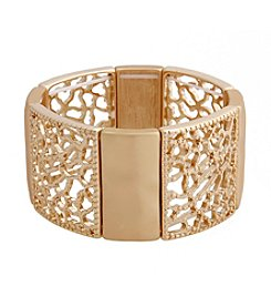 Erica Lyons® Filigree Metal Squares Stretch Bracelet