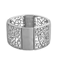 Erica Lyons® Silvertone Filigree Metal Squares Stretch Bracelet