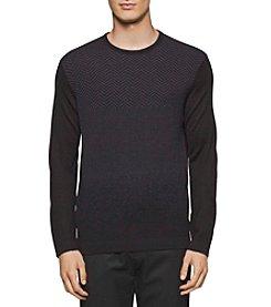 Calvin Klein Men's Merino Herringbone Crew Neck Sweater