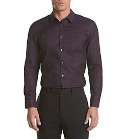 Calvin Klein Men's Slim Fit Long Sleeve Jacquard Plaid Button Down Shirt