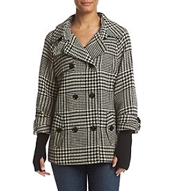 Calvin Klein Plaid Button Front Coat With Sweater Sleeves