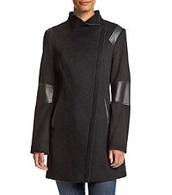 Calvin Klein Faux Leather Asymmetrical Coat