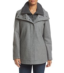 Calvin Klein Double Collar Zip Front Coat