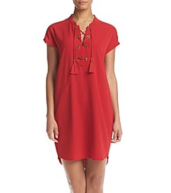 Calvin Klein Lace Up Matte Jersey Dress