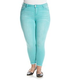 Celebrity Pink Plus Size Fray Cuff Hem Ankle Jeans